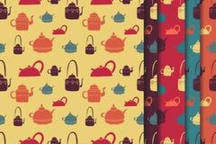 Tea kettle pattern set Stock Photos