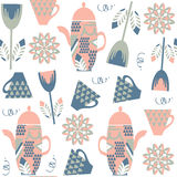 Tea kettle seamless pattern. It is located in swatch menu, vecto. R  image. Cute background for design Royalty Free Stock Photos
