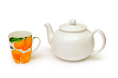 Tea kettle and tea cup Stock Photography
