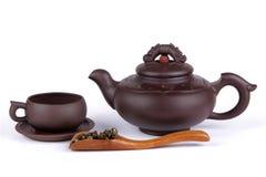 Tea, kopp och teapot Arkivbilder