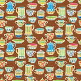 Tea kuper seamless bakgrund Arkivbilder