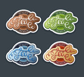Tea labels set. Tea calligraphic colorfull labels set Stock Image