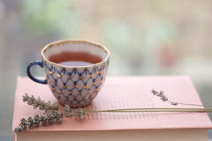 Tea and lavender Stock Photos