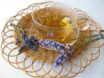 Tea with lavenders Stock Photo