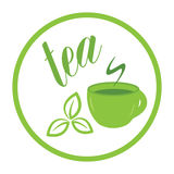 Tea leaf and cup label Royalty Free Stock Photos