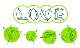 Tea leaf on green circle. Tea leaves in the form of the word LOVE. vector illustration