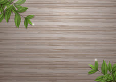 Tea Leafs on wood background vector design. Royalty Free Stock Photos