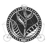 Tea leaves abstract tattoo design vector Stock Images