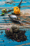 Tea leaves for brewing,tea spoon Stock Image