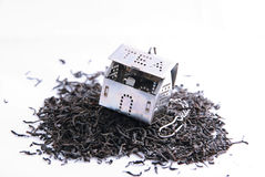Tea leaves and small house. Foto Tea leaves and small house Royalty Free Stock Photo