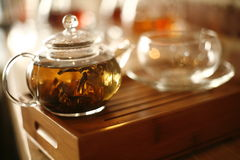 Tea Leaves Steeping in Pot Stock Images
