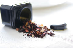 Tea leaves and tea box Royalty Free Stock Photography