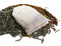 Tea leaves with teabag Royalty Free Stock Photos