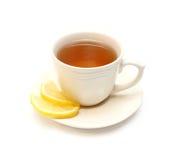 Tea with lemon. Isolated on white Royalty Free Stock Photo
