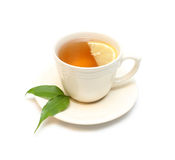 Tea with lemon. Isolated on white Royalty Free Stock Photography