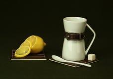 Tea with lemon. Evening tea with lemon creates a good mood Stock Photo