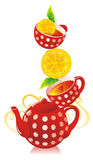 Tea and a lemon. Teapot, cups with tea and a lemon Stock Photo