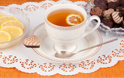 Tea with Lemon. And sweet Royalty Free Stock Photography