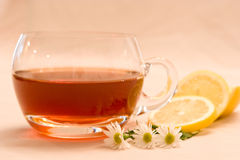 Tea with lemon. A cup of herbal tea with lemon slices and flowers Stock Photo