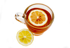 Tea with lemon from above Royalty Free Stock Photography