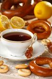 Tea with lemon and bagels. Stock Images