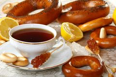 Tea with lemon and bagels. Stock Photography