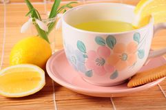 Tea with lemon and biscuit Royalty Free Stock Photos