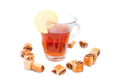 Tea with lemon and biscuits Stock Photo