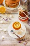 Tea with lemon in a cozy atmosphere. Selective focus Stock Photography