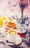 Tea with lemon in a cozy atmosphere. Selective focus Stock Photo