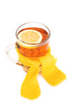 Tea with lemon cup wrapped in scarf Stock Images