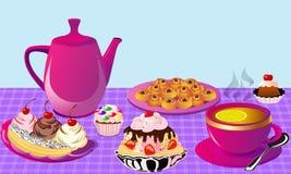 Tea with lemon and fruit cake, cake of the bun. Illustration tea with lemon and fruit cake, cake of the bun Stock Photography