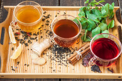 Tea with lemon, ginger, cinnamon and mint Royalty Free Stock Photo