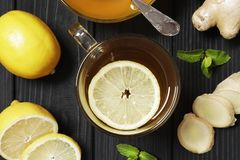 Tea with lemon and ginger royalty free stock image