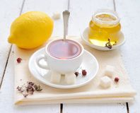 Tea with lemon and honey Stock Photo