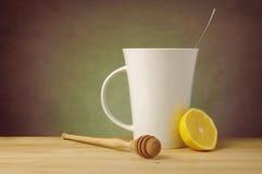 Tea with Lemon, Honey and Copy Space Stock Photo