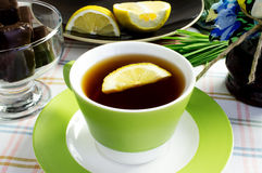 Tea with lemon and jam Royalty Free Stock Photography