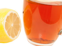 Tea and lemon. macro Stock Photos