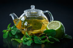 Tea with lemon and mint Royalty Free Stock Photography