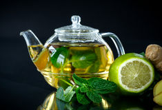 Tea with lemon and mint Stock Photos