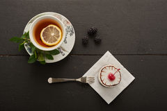 tea with lemon and mint and cherry stock images