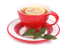 Tea with lemon and mint in a red cup and saucer  Stock Images