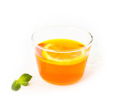 Tea with lemon and mint on white background Stock Photos