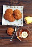 Tea with lemon. Oatmeal Cookies royalty free stock photos