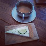 Tea and lemon pie Stock Photography