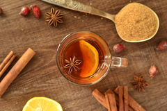 Tea with lemon and spices Royalty Free Stock Image