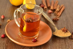 Tea with lemon and spices Stock Image