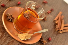 Tea with lemon and spices Royalty Free Stock Photo