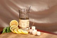 Tea, lemon and sugar Royalty Free Stock Photography