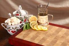 Tea, lemon and sugar Stock Photography